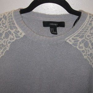 Forever 21 Sweaters - Forever 21 Medium Gray Laced Sweater
